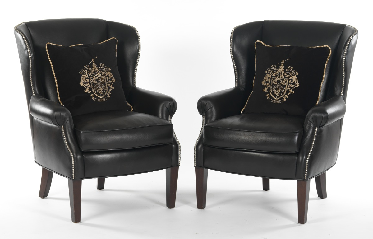 Black leather club chair nailhead - Pair Of Black Leather Wing Chairs From Trump Home