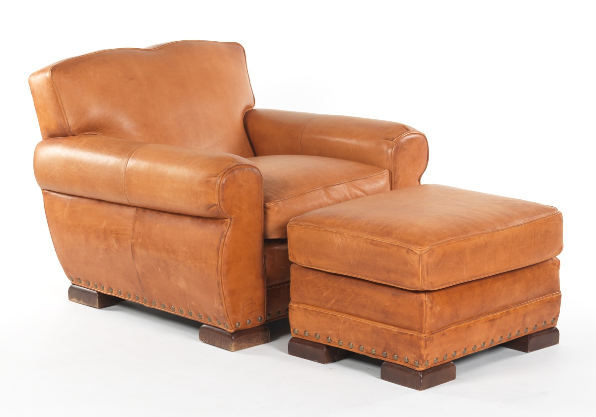 Rustic Leather Easy Chair And Ottoman