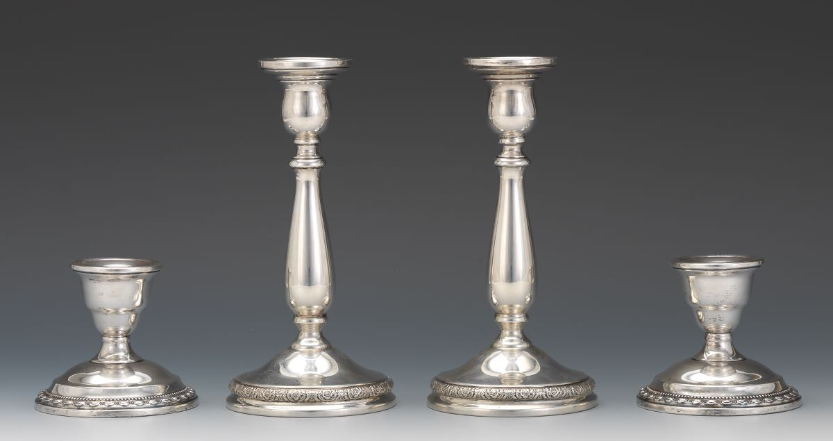 Two Pairs Of Sterling Silver Candle Holders In Prelude