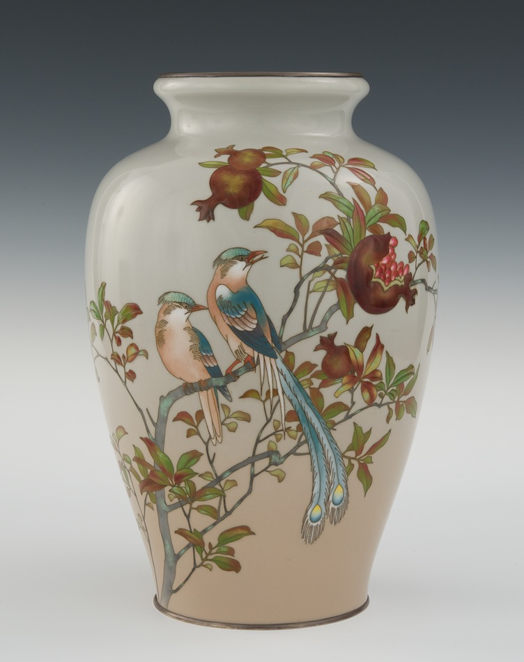 A Cloisonne Moriage Vase With Mark Of Ando Jubei Meiji Period