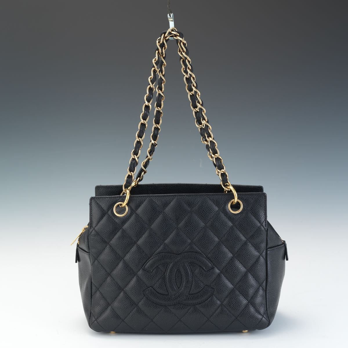 28a0a3002b9a Chanel Petite Timeless Shopping Tote in Black Caviar Leather