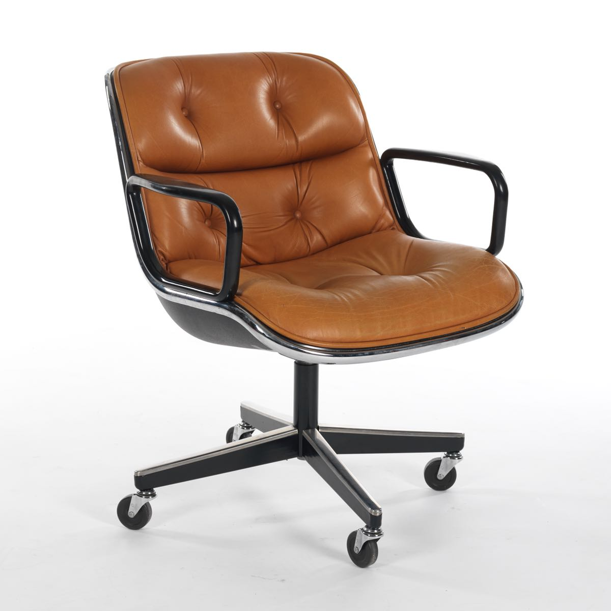 Knoll Pollock Executive Chair With Arms In Brown Leather