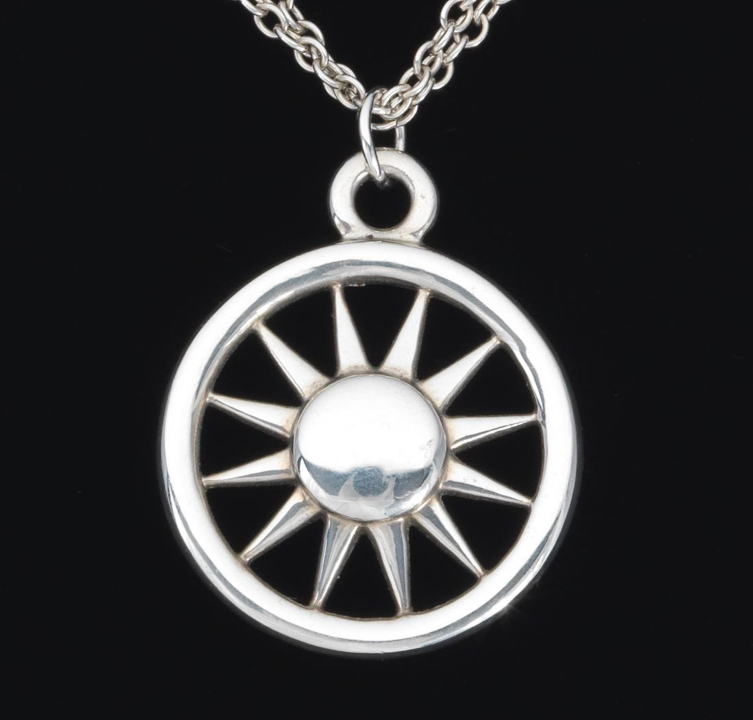 A tiffany co sterling silver sun pendant on chain 121214 sold a tiffany co sterling silver sun pendant on chain mozeypictures Images