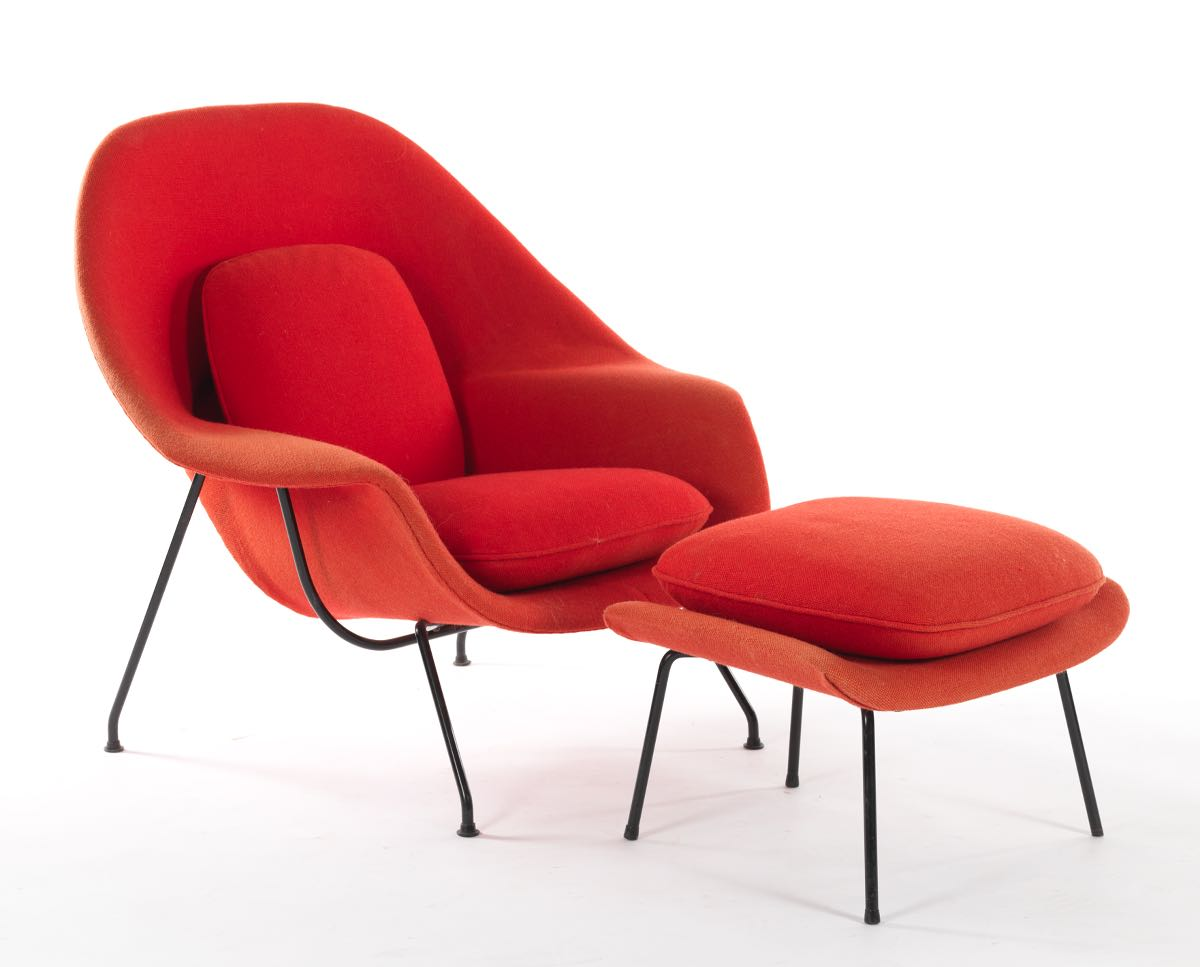 Knoll Saarinen Womb Chair with Ottoman in Hopsack in Red, 12.11.14 ... - Knoll Saarinen Womb Chair with Ottoman in Hopsack in Red
