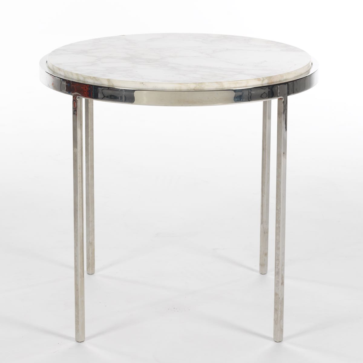 Chrome Base Accent Table With White Polished Marble Top, Brueton