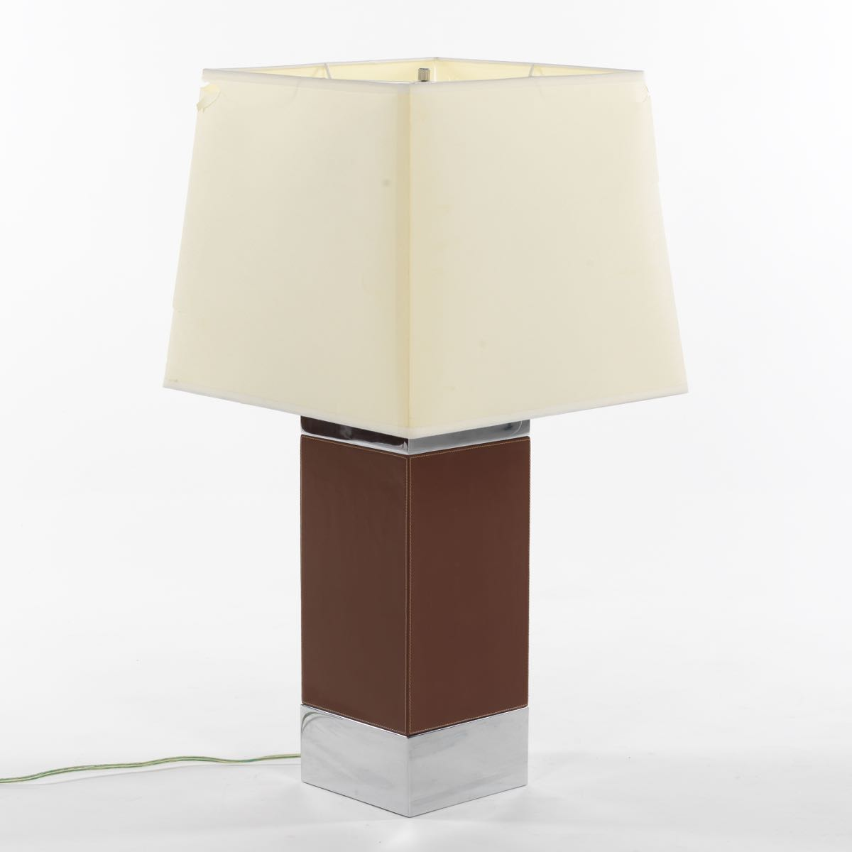 Ralph Lauren Metal And Brown Leather Table Lamp