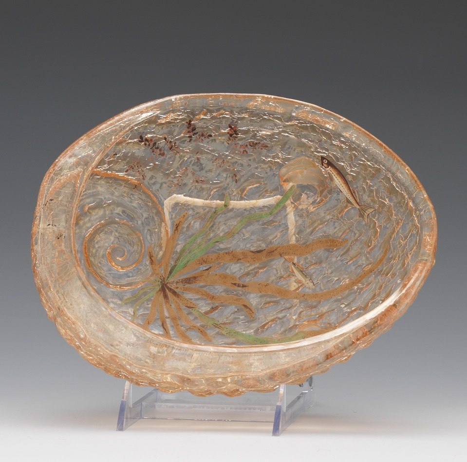 Crackle aspire auctions 371 a moser crackle glass bowl with enameled fish motif reviewsmspy