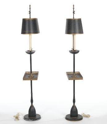 A Pair Of Tray Table Floor Lamps