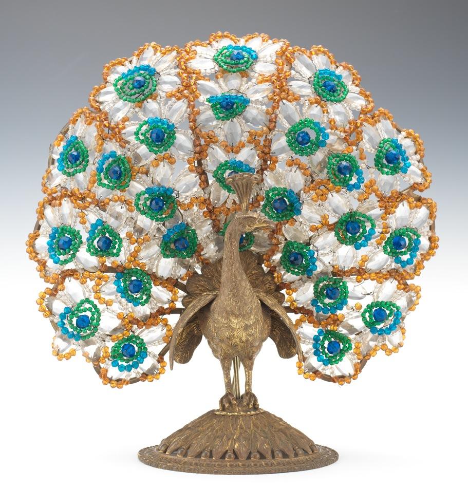 A Czechoslovakian Art Glass Beaded Peacock Lamp