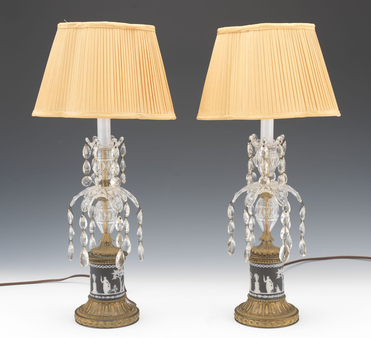 A Pair Of Gilt Patinated Brass, Wedgwood And Czech Crystal Candlestick Lamps