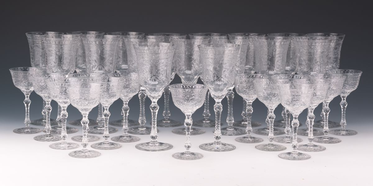 a set of crystal water goblets and sherries ca 1950u0027s
