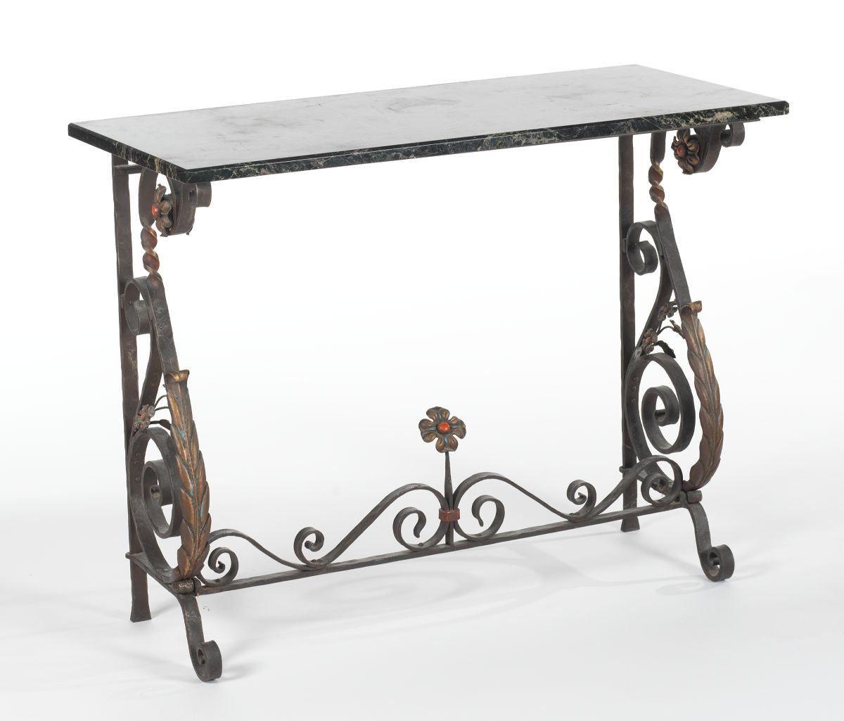 A Wrought Iron Marble Top Console Table Sold 345