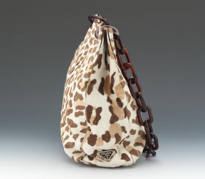 prada tessuto saffiano - Prada Deer Print Pony Hair Tote With Faux Tortoise Shell Chain ...