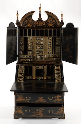 A Large Chinoiserie Painted Secretary Desk