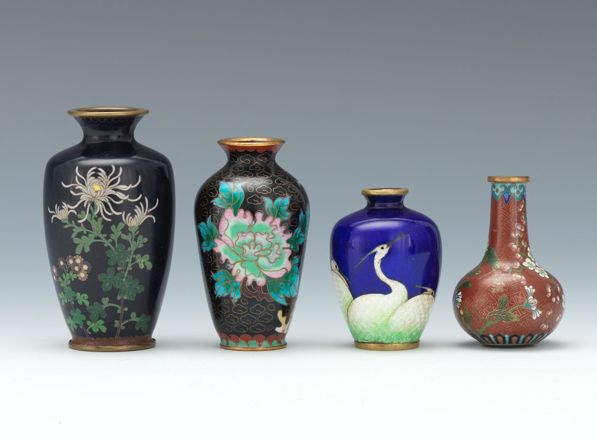 A group of four miniature cloisonne vases one marked kumeno a group of four miniature cloisonne vases one marked kumeno teitaro reviewsmspy