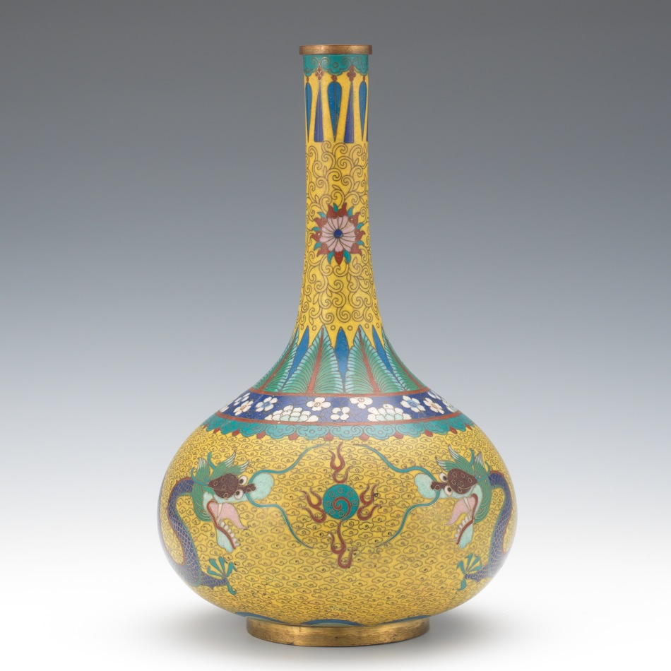 An imperial yellow chinese cloisonne bottle vase with dragons an imperial yellow chinese cloisonne bottle vase with dragons reviewsmspy