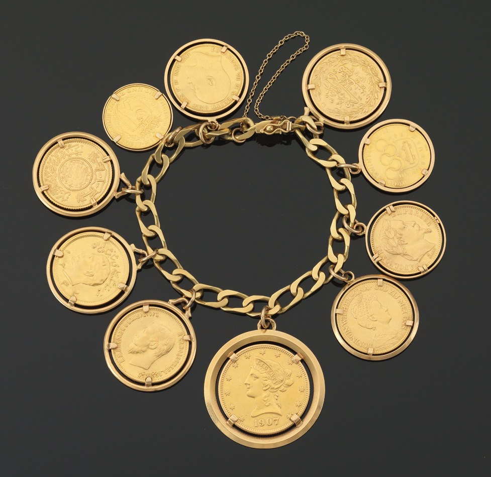 Gold Charm Bracelet Charms: An Impressive Gold Charm Bracelet With Gold Coins, Russian