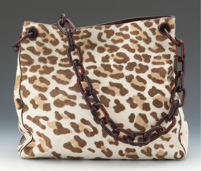 prada leather tote handbag - Prada Deer Print Pony Hair Tote With Faux Tortoise Shell Chain ...