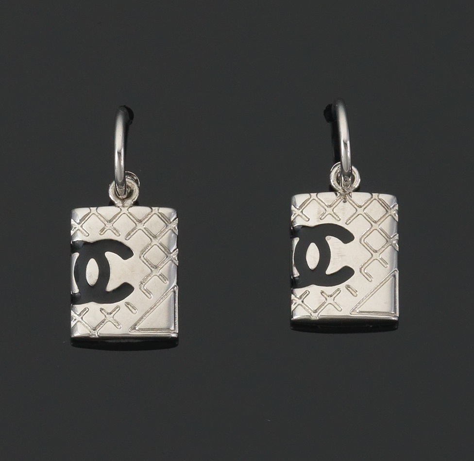 Chanel Costume Jewelry Earrings With Iconic Flat Top