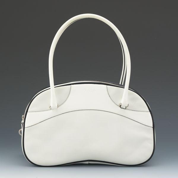 107f089f07 Prada White Leather Bowler Style