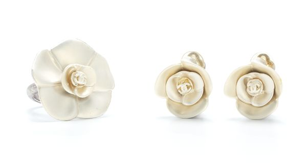 Chanel Enameled Costume Jewelry Camellia Flower Ring And Clip On Earrings