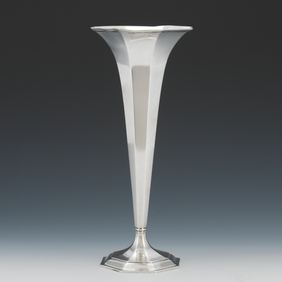 a tiffany sterling silver trumpet vase sold