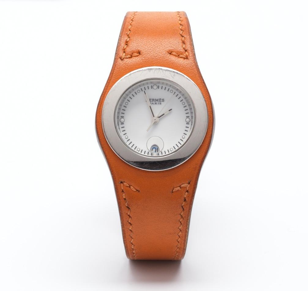 a hermes quot harnais quot orange leather 05