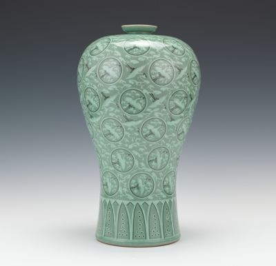 A Korean Porcelain Flying Cranes And Clouds Vase 110114 Sold