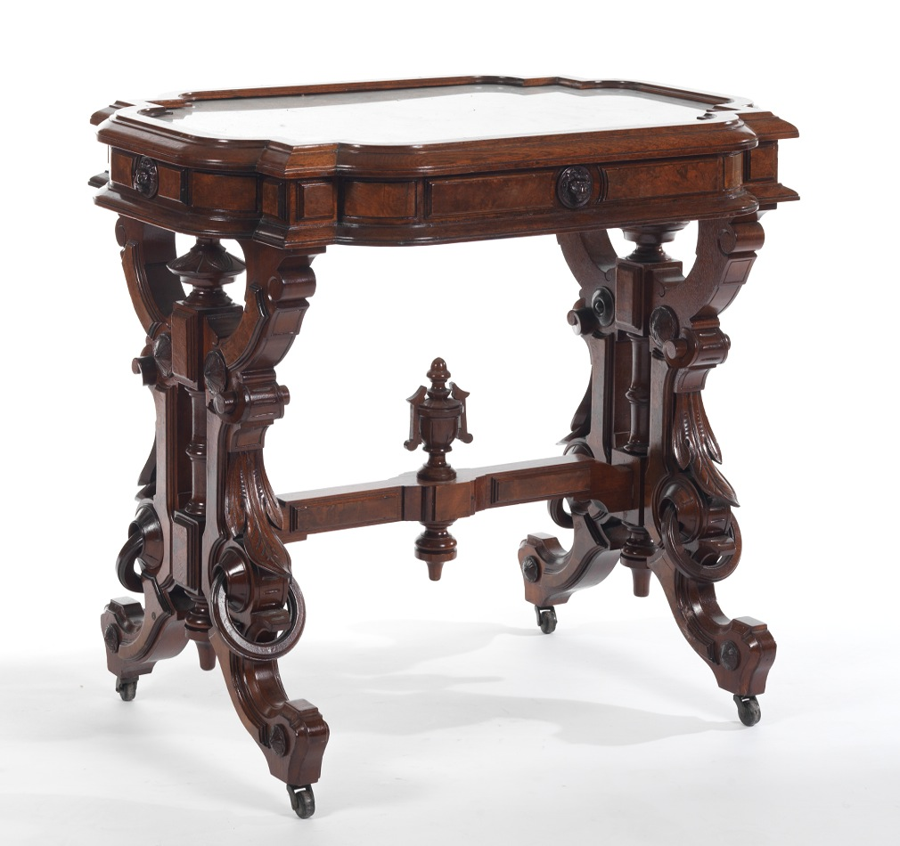 Victorian carved rosewood center table w marble turtle top cottone - American Victorian Marble Top Table In Walnut Probably By Thomas Brooks Ca 1860 70