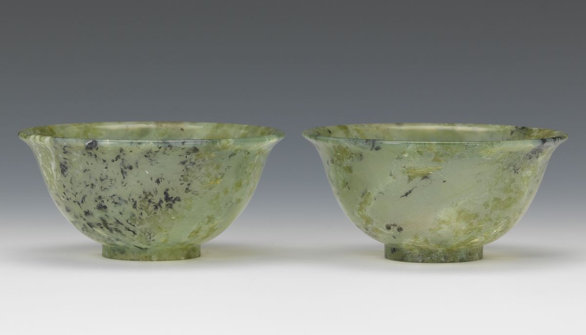A Pair Of Chinese Carved Translucent Jade Bowls 11 01 14