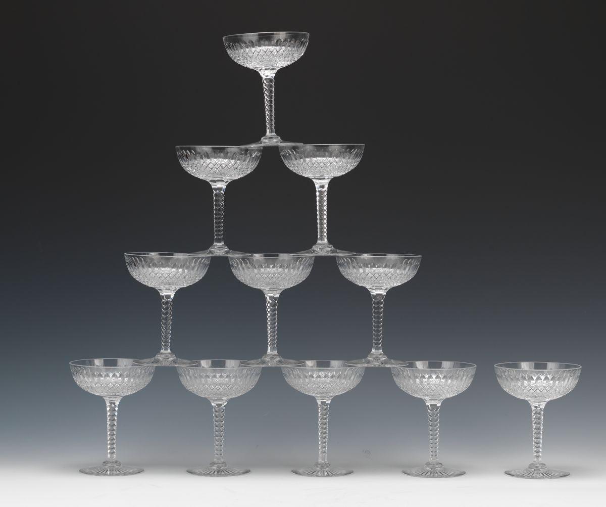Unique Eleven Val St. Lambert Diamond Cut Crystal Champagne Glasses  SE46
