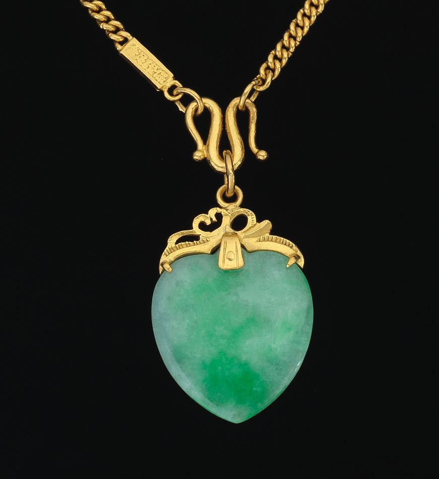 A Chinese 24k Gold Chain And Jade Pendant 10 31 14 Sold