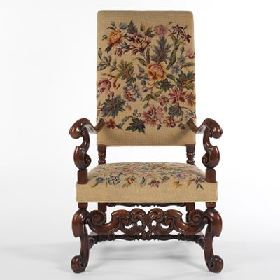 An English William And Mary Style Needlepoint Armchair