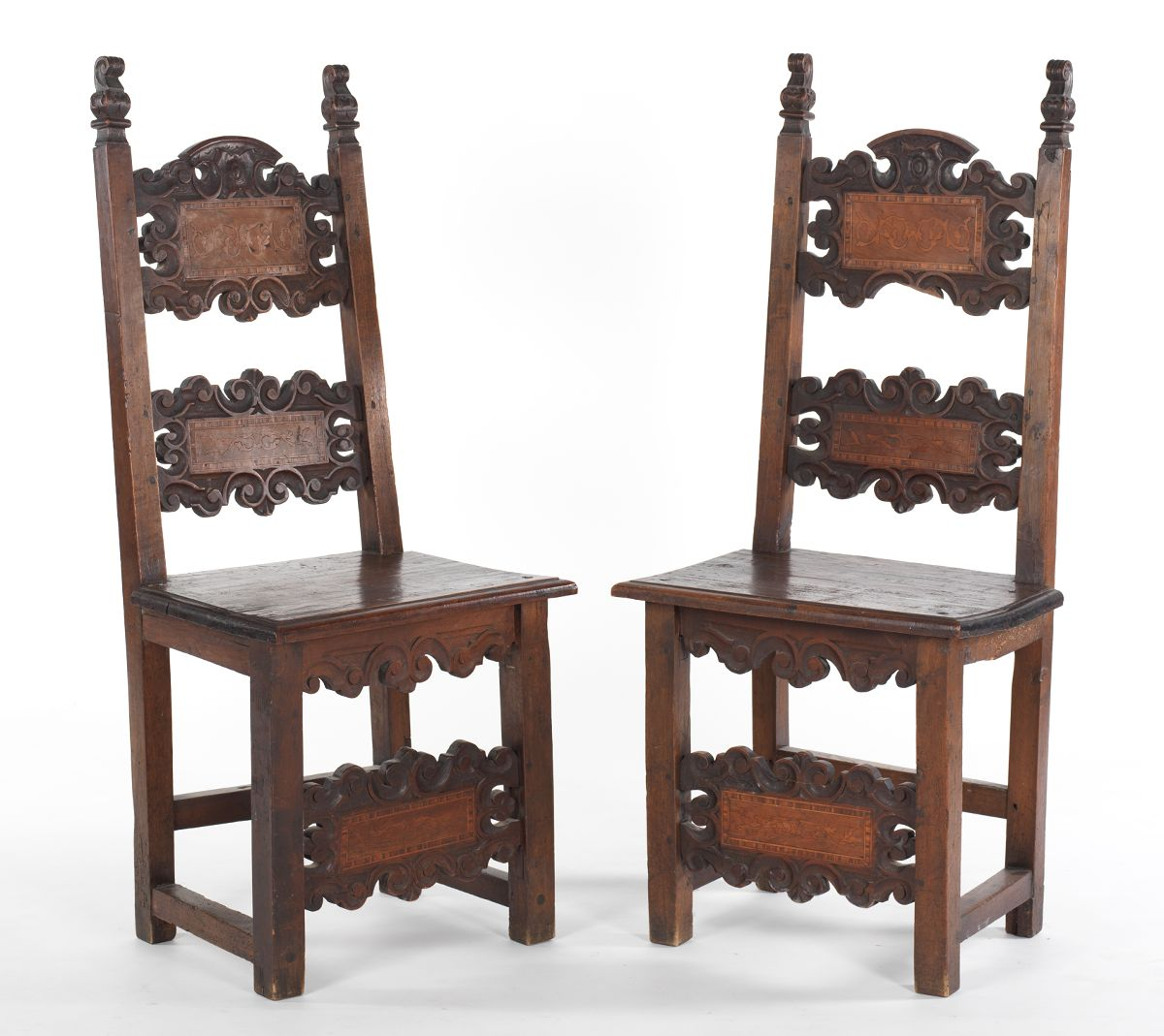 Chair table 17th century - A Pair Of Spanish Walnut Marquetry Side Chairs Late 17th Century