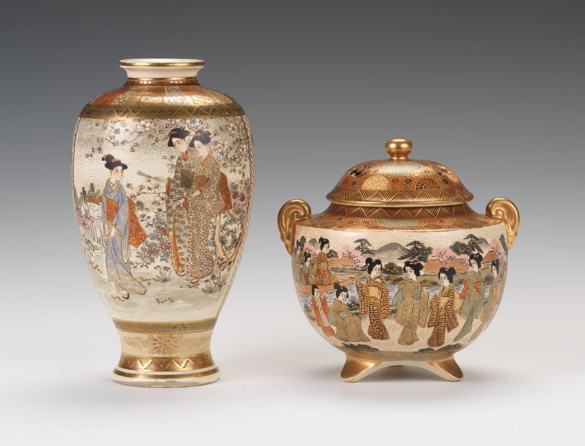 A satsuma porcelain miniature vase and tripod censer meiji period a satsuma porcelain miniature vase and tripod censer meiji period reviewsmspy
