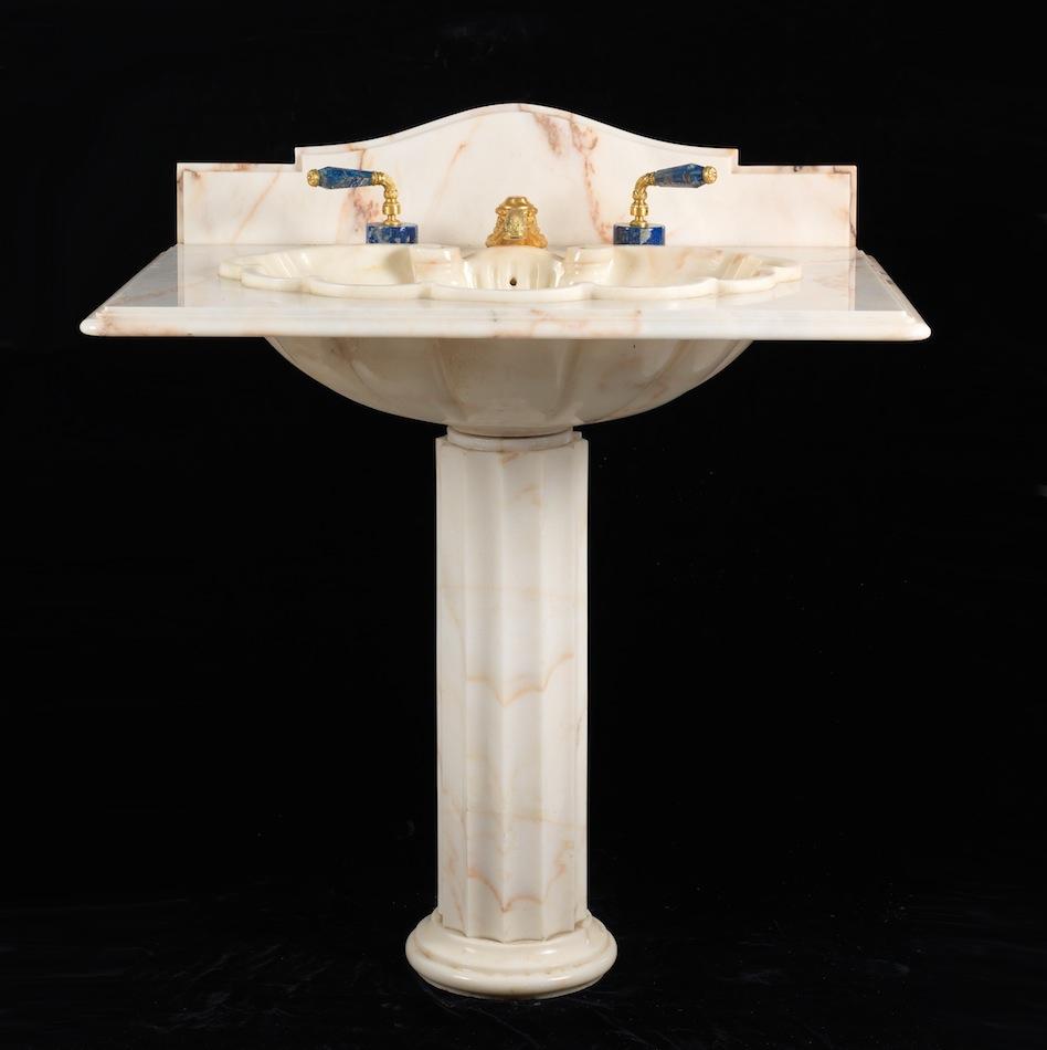 A Sherle Wagner Pedestal Sink With Backsplash 09 06 14