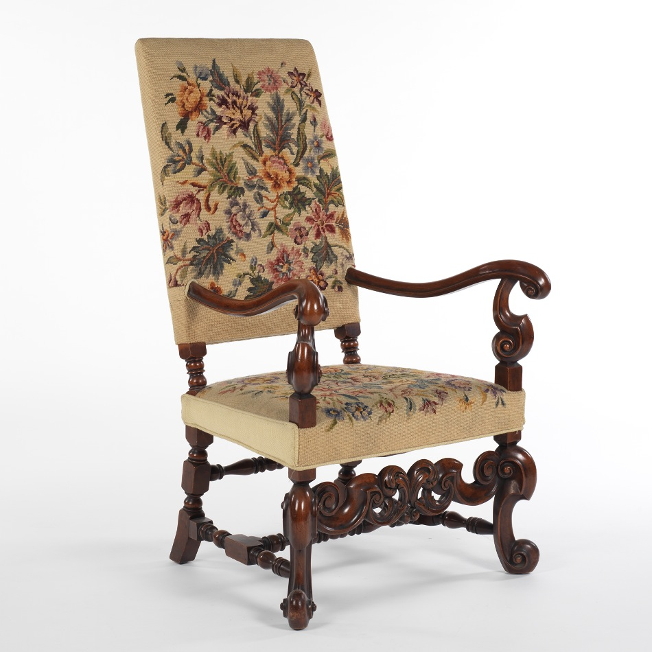 An English William And Mary Style Needlepoint Armchair 09