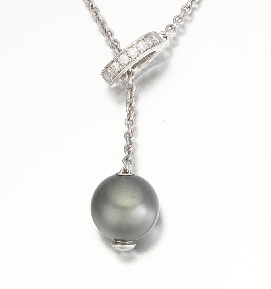 Mikimoto Tahitian Pearl Necklace: A Mikimoto Pearl And Diamond Lariat Necklace , 09.05.14