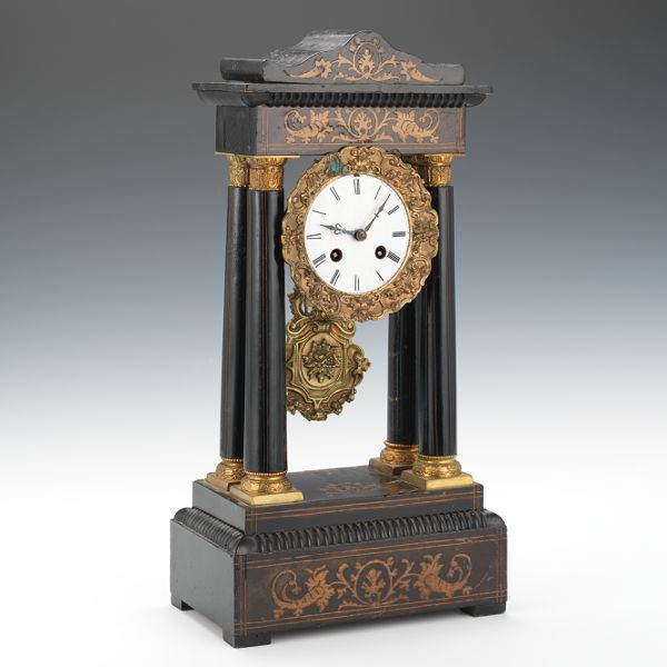 Portico Inlaid Japy Freres Mantle Clock 09 04 14 Sold 161