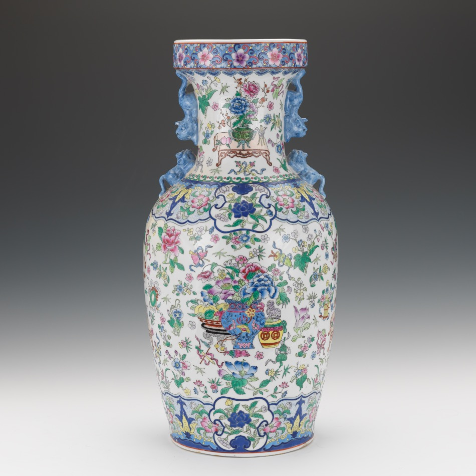 Chinese Large Porcelain Famille Verte Vase On Stand