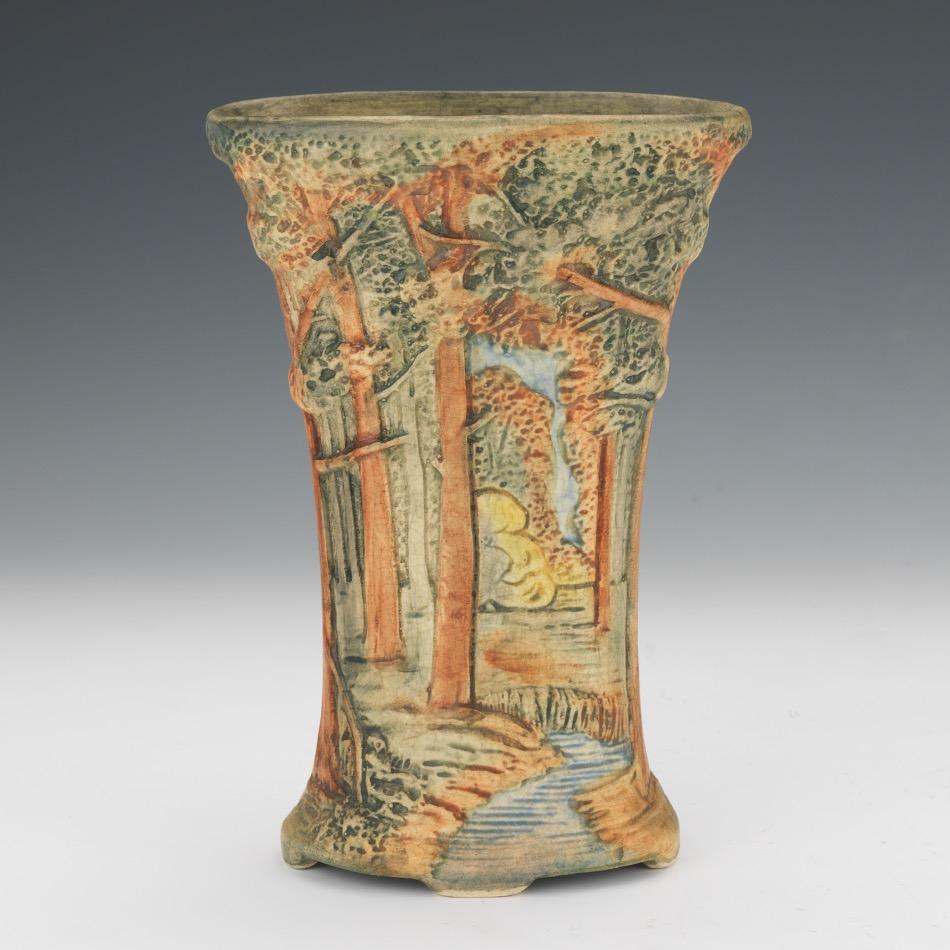 weller pottery co  vase   u0026quot forest u0026quot  pattern  ca  20th