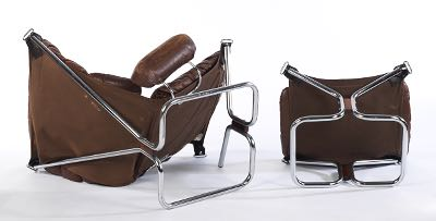 ingmar relling chrome and leather sling chair and ottoman for westnofa norway ca