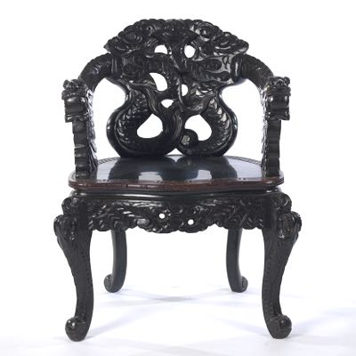 Carved Wood Dragon Chair, Chinese, 20th Century - Carved Wood Dragon Chair, Chinese, 20th Century, 02.21.15, Sold: $138