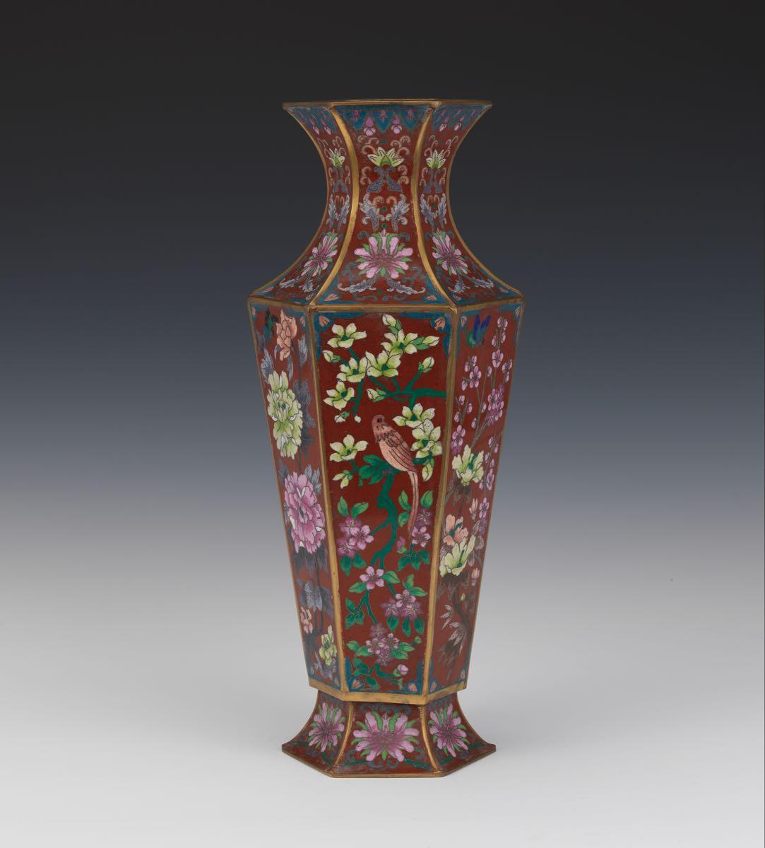 Hexagonal Cloisonne Vase 021915 Sold 1955