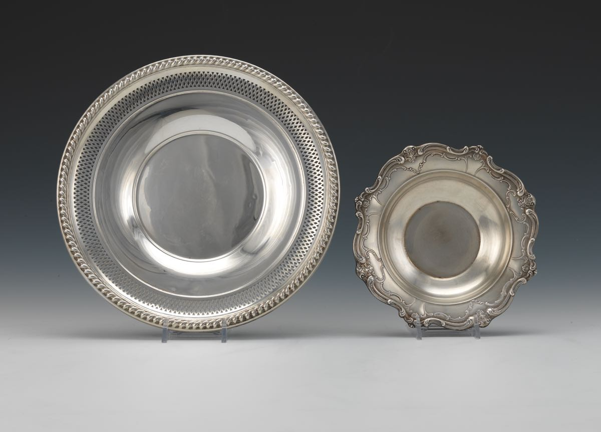 Two Sterling Silver Dishes by Gorham in \ Chantilly\  Pattern and by Watrous & Two Sterling Silver Dishes by Gorham in \