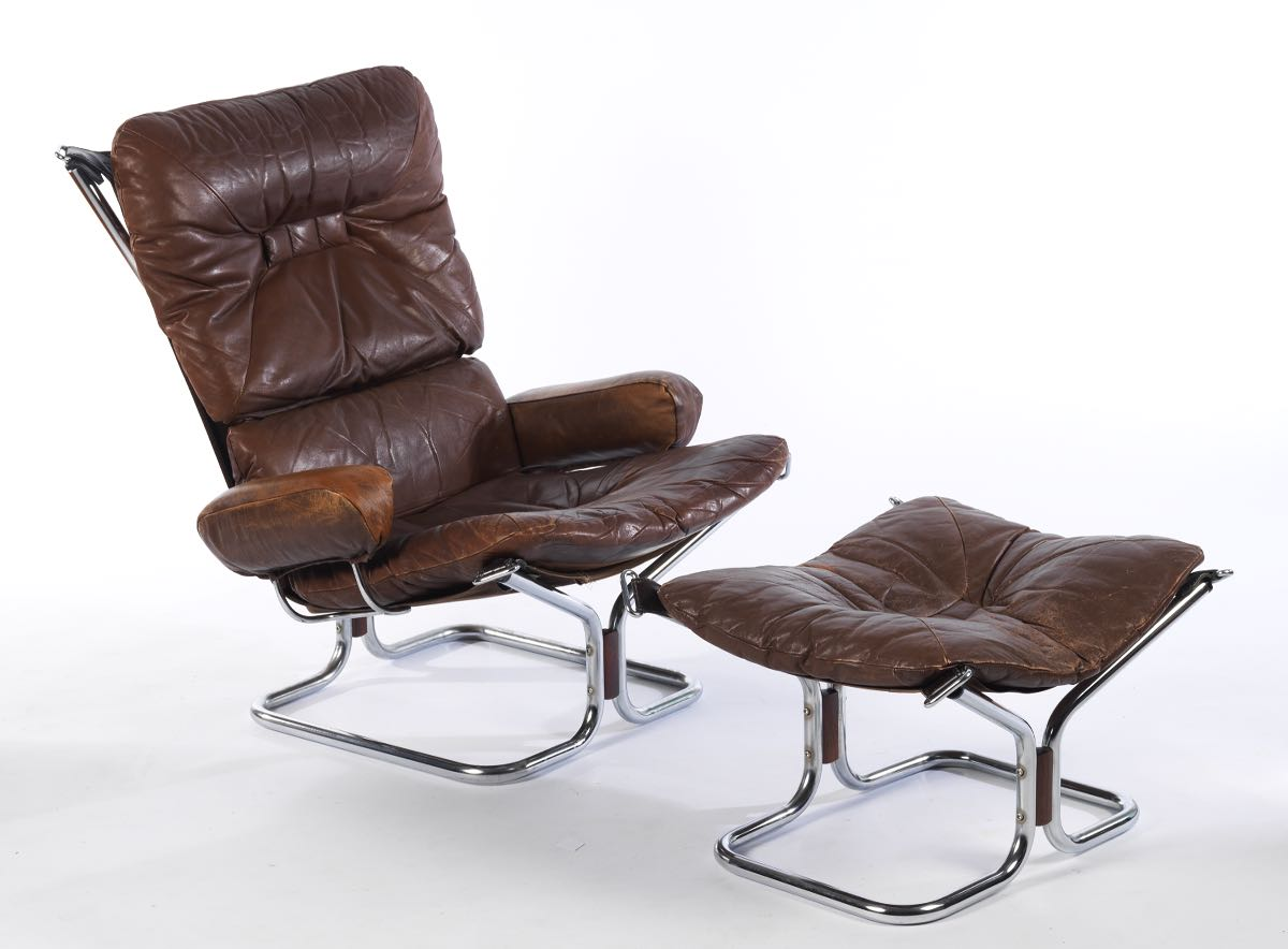 Sensational Ingmar Relling Chrome And Leather Sling Chair And Ottoman Spiritservingveterans Wood Chair Design Ideas Spiritservingveteransorg