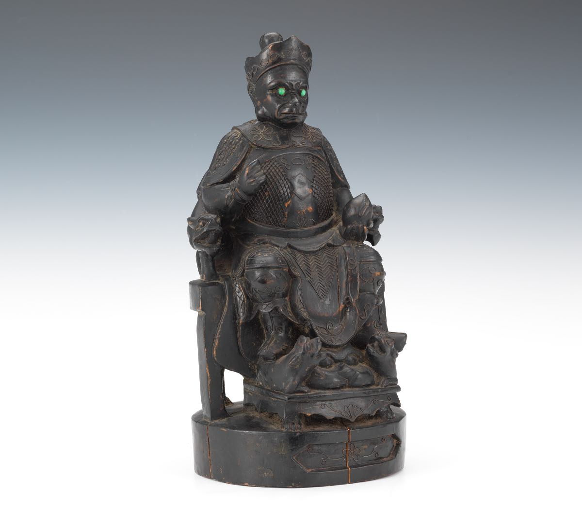 Chinese Carved Wood Lacquered Sculpture Of Sun Wukong The Monkey King With Silver Wire Accents
