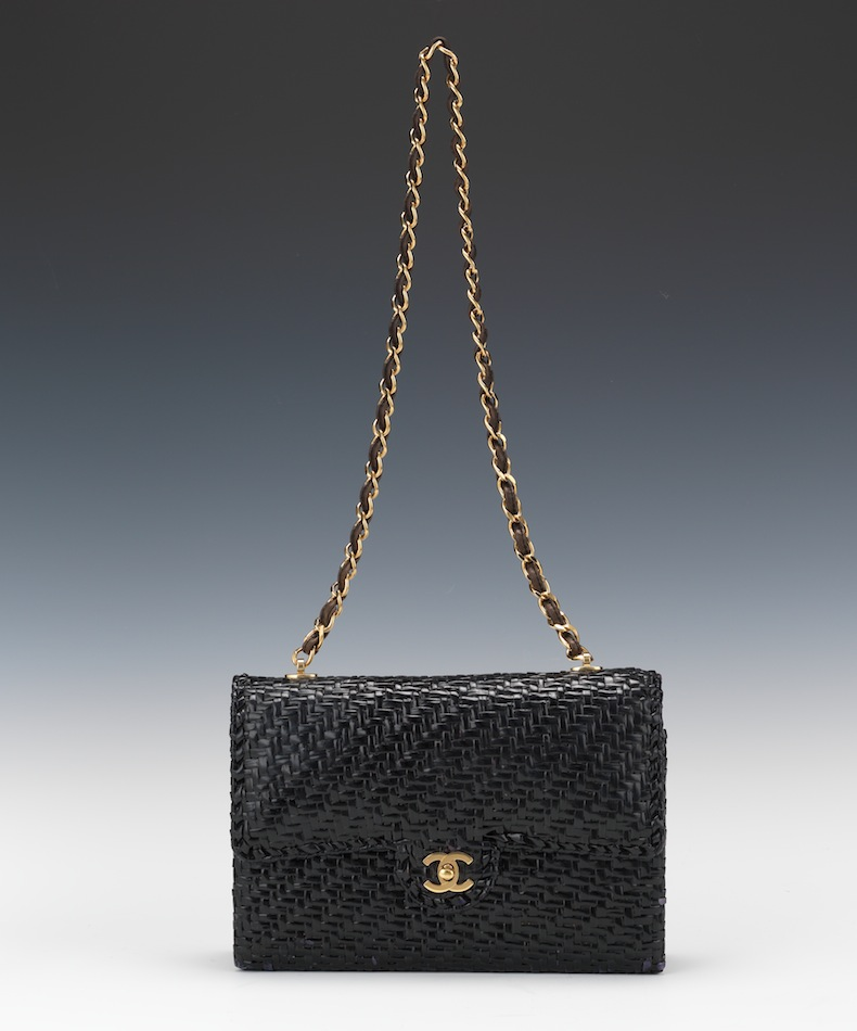1213531f5d45 Chanel Black Woven Straw Wicker Mini Flap Bag
