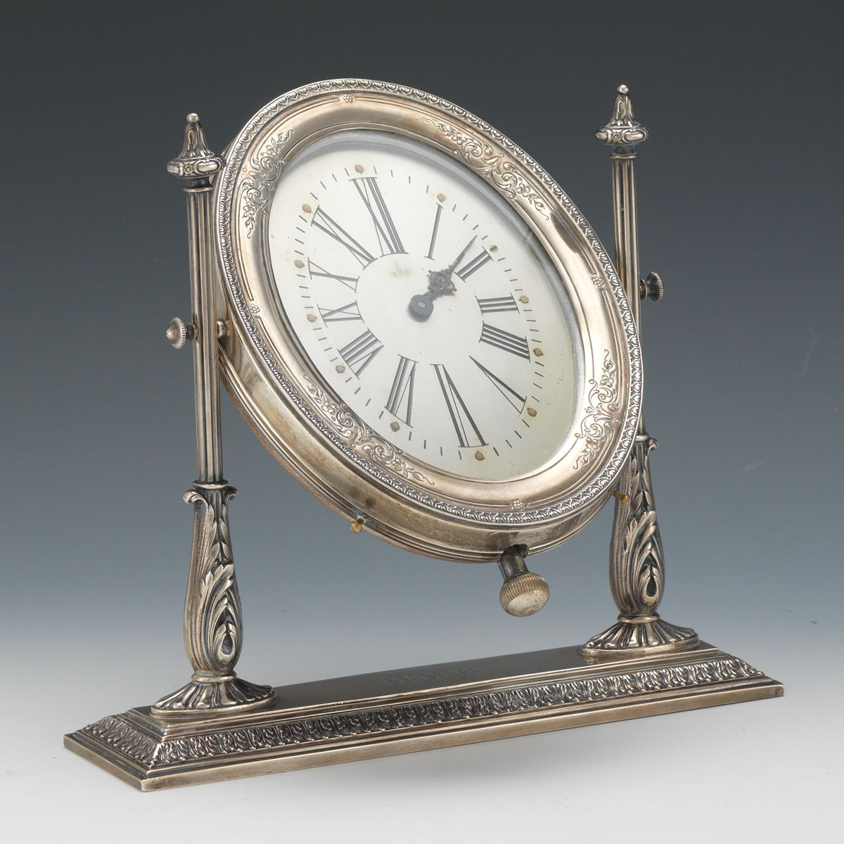 Sterling Silver Desk Clock Reed And Barton