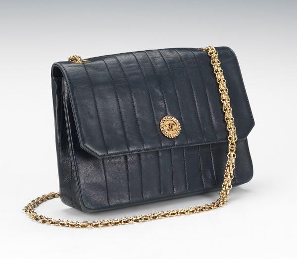 5367ba944214 Chanel Vintage Navy Blue Lamb Leather Pleated Flap Bag